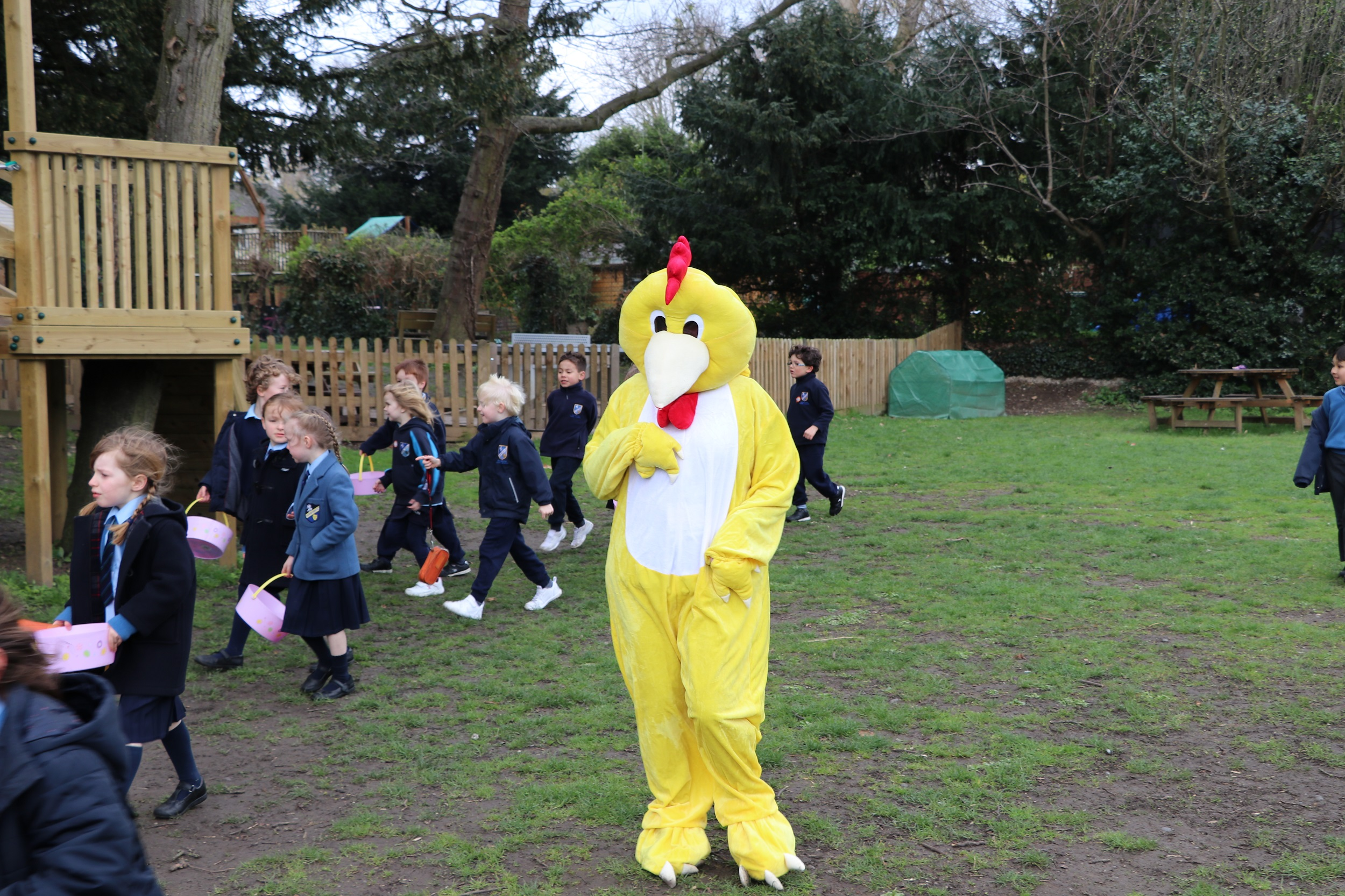 Babington pupils searching for easter eggs